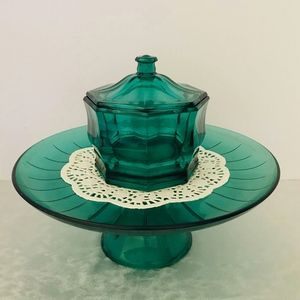 Vintage Indiana Glass Emerald Octagon Candy Dish